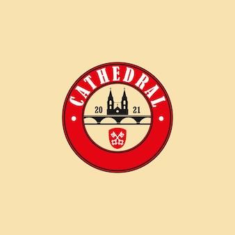 Sylwetka pałacu katedralnego logo wektor, wektor klasycznego projektu logo hali kastylii w formacie eps, odpowiedni do potrzeb projektowych, logo, ilustracji, animacji itp.