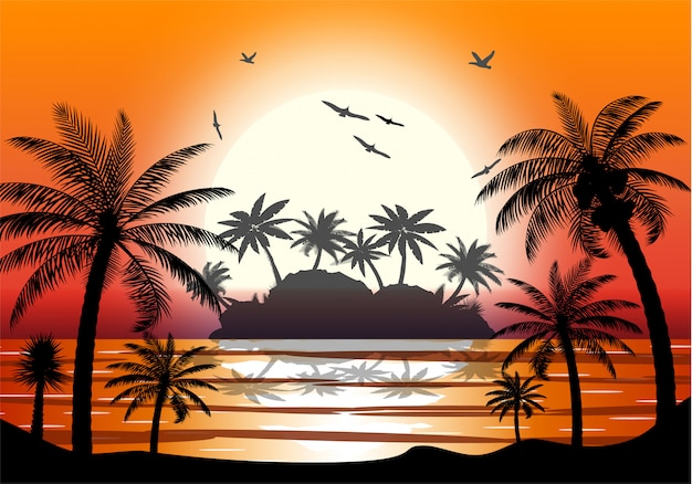 Sylwetka palmy na plaży.