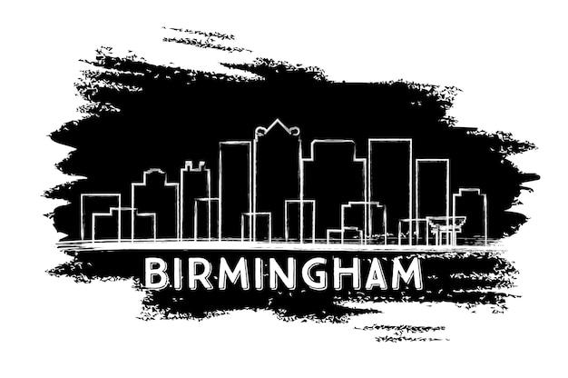 Sylwetka panoramę birmingham. ręcznie rysowane szkic. ilustracja wektorowa. podróże służbowe i koncepcja turystyki z nowoczesną architekturą. obraz banera prezentacji i witryny sieci web.