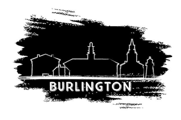 Sylwetka panoramę burlington. ręcznie rysowane szkic. ilustracja wektorowa. podróże służbowe i koncepcja turystyki z nowoczesnymi budynkami. obraz banera prezentacji i witryny sieci web.