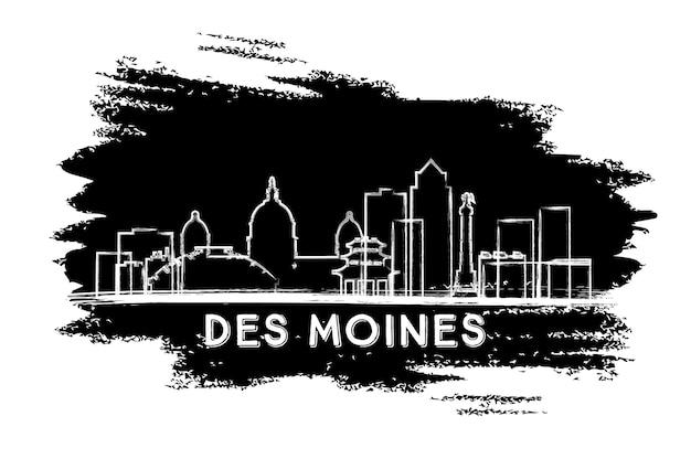 Sylwetka panoramę des moines. ręcznie rysowane szkic. podróże służbowe i koncepcja turystyki z zabytkową architekturą. obraz banera prezentacji i witryny sieci web. ilustracja wektorowa.