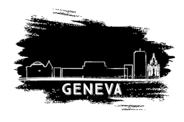 Sylwetka panoramę genewy. ręcznie rysowane szkic. ilustracja wektorowa. podróże służbowe i koncepcja turystyki z nowoczesną architekturą. obraz banera prezentacji i witryny sieci web.