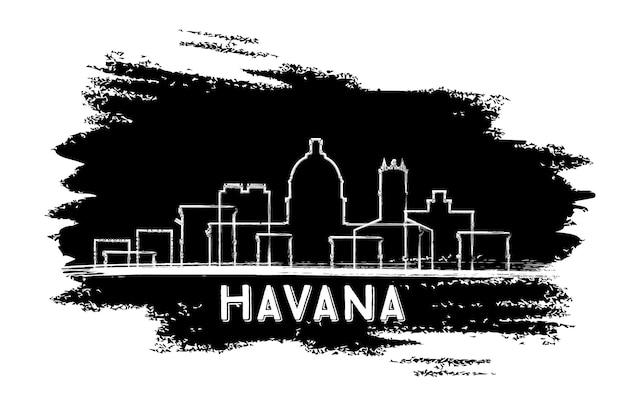 Sylwetka panoramę hawany. ręcznie rysowane szkic. podróże służbowe i koncepcja turystyki z zabytkową architekturą. obraz banera prezentacji i witryny sieci web. ilustracja wektorowa.