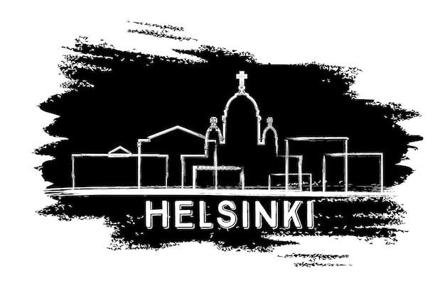Sylwetka panoramę helsinek. ręcznie rysowane szkic. podróże służbowe i koncepcja turystyki z zabytkową architekturą. obraz banera prezentacji i witryny sieci web. ilustracja wektorowa.