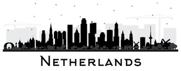 Sylwetka panoramę holandii z czarnymi budynkami na białym tle