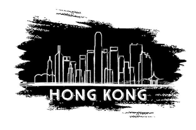 Sylwetka panoramę hongkongu. ręcznie rysowane szkic. ilustracja wektorowa. podróże służbowe i koncepcja turystyki z nowoczesną architekturą. obraz banera prezentacji i witryny sieci web.