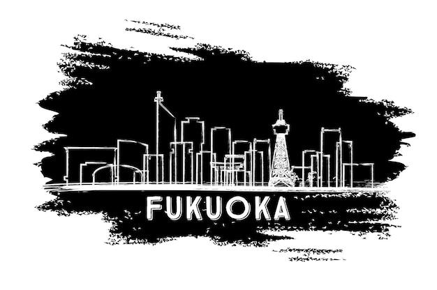 Sylwetka panoramę japonii fukuoka. ręcznie rysowane szkic. podróże służbowe i koncepcja turystyki z zabytkową architekturą. obraz banera prezentacji i witryny sieci web. ilustracja wektorowa.