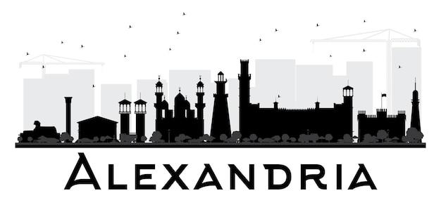 Sylwetka panoramę miasta aleksandria czarno-białe. ilustracja wektorowa. prosta koncepcja płaska do prezentacji turystyki, banera, afiszu lub strony internetowej. koncepcja podróży biznesowych. pejzaż miejski z zabytkami
