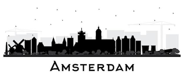 Sylwetka panoramę miasta amsterdam holland z czarnymi budynkami na białym tle