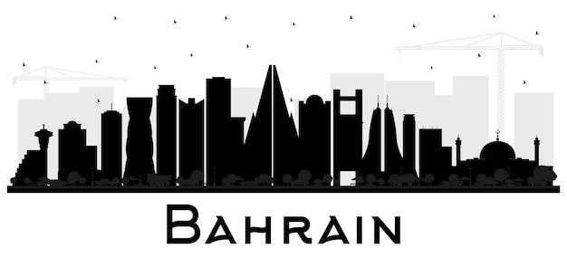 Sylwetka panoramę miasta bahrajn z czarnymi budynkami na białym tle. ilustracja wektorowa. podróże służbowe i koncepcja turystyki z nowoczesną architekturą. bahrajn gród z zabytkami.