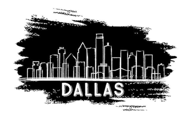 Sylwetka panoramę miasta dallas texas usa. ręcznie rysowane szkic. podróże służbowe i koncepcja turystyki z nowoczesną architekturą. ilustracja wektorowa. dallas gród z zabytkami.