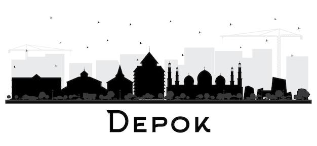Sylwetka panoramę miasta depok indonesia z czarnymi budynkami na białym tle
