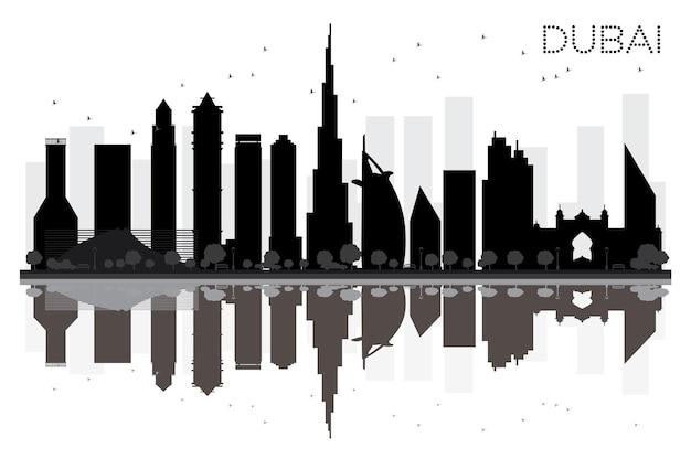 Sylwetka panoramę miasta dubaj czarno-białe z odbiciami. ilustracja wektorowa. prosta koncepcja płaska do prezentacji turystyki, banera, afiszu lub strony internetowej. pejzaż ze słynnymi zabytkami