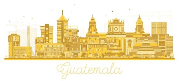 Sylwetka panoramę miasta gwatemala ze złotymi budynkami na białym tle. ilustracja wektorowa. koncepcja biznesowa i turystyczna z zabytkową architekturą. gwatemala gród z zabytkami.