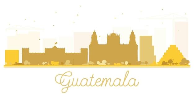 Sylwetka panoramę miasta gwatemala złota. ilustracja wektorowa. prosta koncepcja płaska do prezentacji turystyki, banera, afiszu lub strony internetowej. pejzaż miejski z zabytkami.