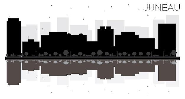 Sylwetka panoramę miasta juneau czarno-białe z odbiciami. ilustracja wektorowa. prosta koncepcja płaska do prezentacji turystyki, banera, afiszu lub strony internetowej. pejzaż miejski ze słynnymi zabytkami.