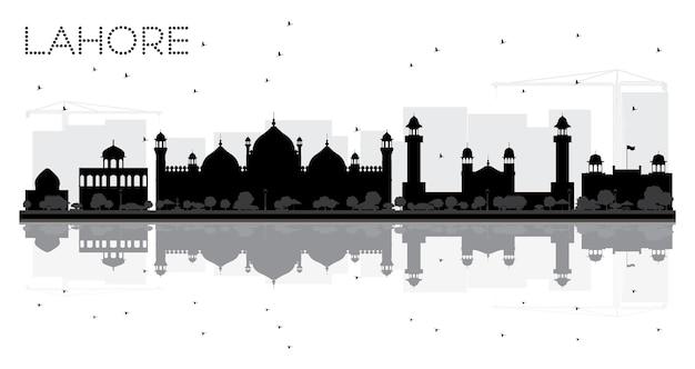 Sylwetka panoramę miasta lahore czarno-białe z odbiciami. ilustracja wektorowa.