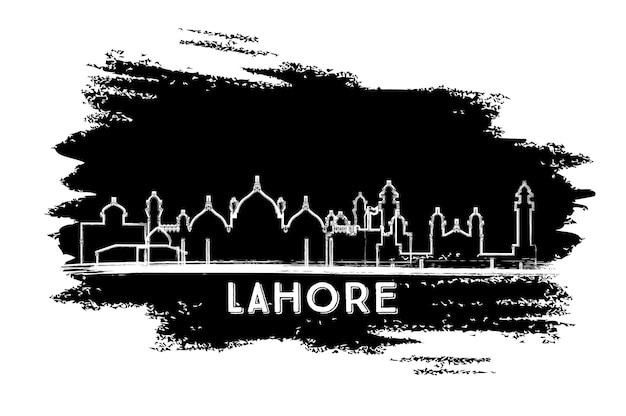 Sylwetka panoramę miasta lahore pakistan. ręcznie rysowane szkic. podróże służbowe i koncepcja turystyki z zabytkową architekturą. ilustracja wektorowa. gród lahore z zabytkami.
