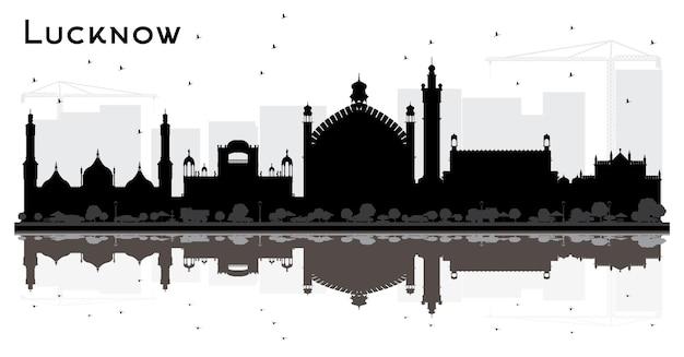 Sylwetka panoramę miasta lucknow indie z czarnymi budynkami i refleksje. ilustracja wektorowa. podróże służbowe i koncepcja turystyki z nowoczesną architekturą. gród lucknow z zabytkami.