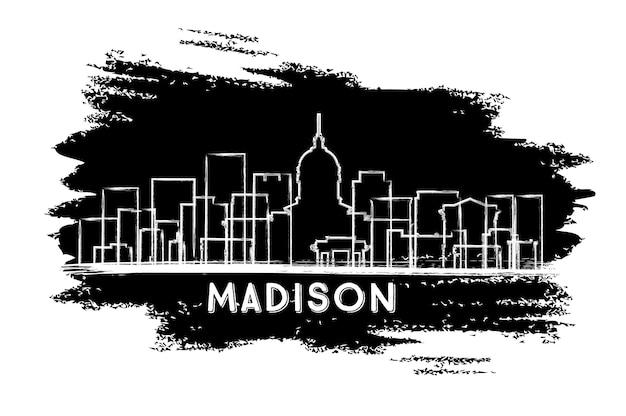 Sylwetka panoramę miasta madison wisconsin. ręcznie rysowane szkic. podróże służbowe i koncepcja turystyki z zabytkową architekturą. ilustracja wektorowa. madison usa gród z zabytkami.