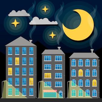 Sylwetka panoramę miasta noc