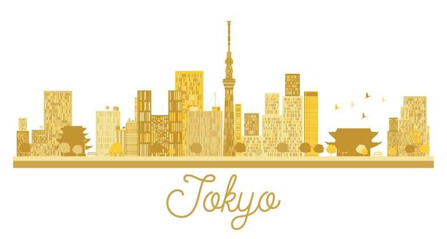 Sylwetka panoramę miasta tokio złota. ilustracja wektorowa. prosta koncepcja płaska do prezentacji turystyki, banera, afiszu lub strony internetowej. tokio na białym tle.