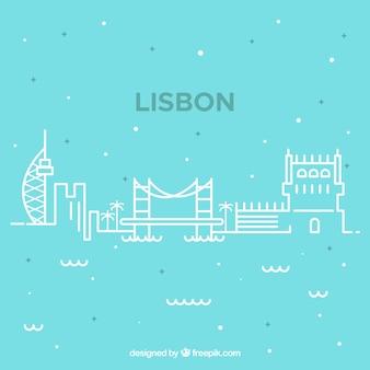 Sylwetka panoramę miasta w monolines