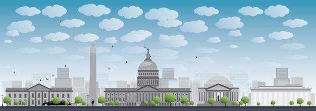 Sylwetka panoramę miasta waszyngton dc
