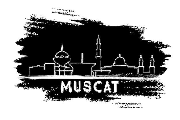Sylwetka panoramę omanu muscat. ręcznie rysowane szkic. ilustracja wektorowa. podróże służbowe i koncepcja turystyki z nowoczesną architekturą. obraz banera prezentacji i witryny sieci web.