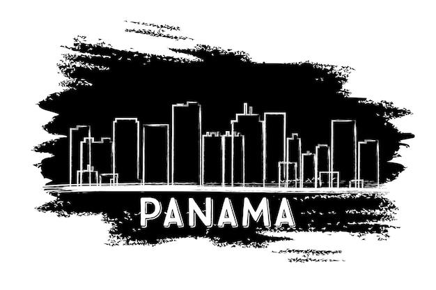 Sylwetka panoramę panamy. ręcznie rysowane szkic. ilustracja wektorowa. podróże służbowe i koncepcja turystyki z nowoczesną architekturą. obraz banera prezentacji i witryny sieci web.