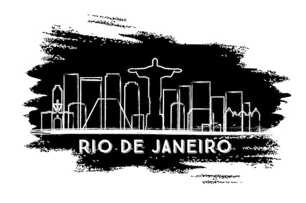 Sylwetka panoramę rio de janeiro. ręcznie rysowane szkic. podróże służbowe i koncepcja turystyki z zabytkową architekturą. obraz banera prezentacji i witryny sieci web. ilustracja wektorowa.