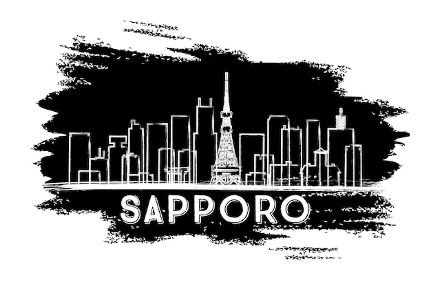 Sylwetka panoramę sapporo. ręcznie rysowane szkic. ilustracja wektorowa. podróże służbowe i koncepcja turystyki z nowoczesnymi budynkami. obraz banera prezentacji i witryny sieci web.