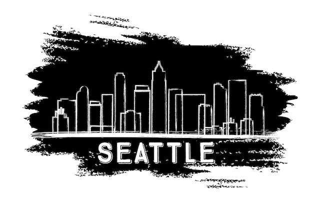 Sylwetka panoramę seattle. ręcznie rysowane szkic. ilustracja wektorowa. podróże służbowe i koncepcja turystyki z zabytkową architekturą. obraz banera prezentacji i witryny sieci web.