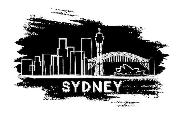 Sylwetka panoramę sydney. ręcznie rysowane szkic. ilustracja wektorowa. podróże służbowe i koncepcja turystyki z zabytkową architekturą. obraz banera prezentacji i witryny sieci web.