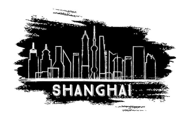 Sylwetka panoramę szanghaju. ręcznie rysowane szkic. ilustracja wektorowa. podróże służbowe i koncepcja turystyki z nowoczesną architekturą. obraz banera prezentacji i witryny sieci web.