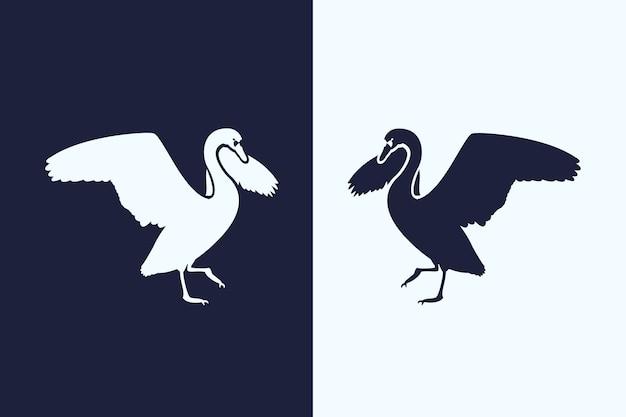 Sylwetka pelikana w dwóch wersjach
