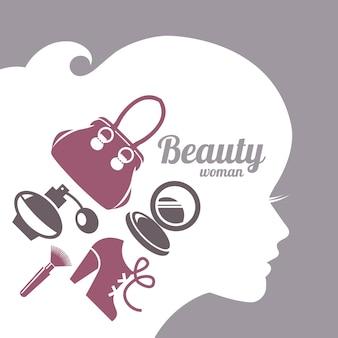 Sylwetka piękna kobieta moda. zestaw ikon zakupów