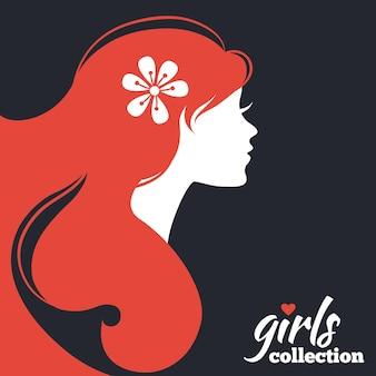 Sylwetka piękna kobieta z kwiatami. kolekcja dziewczyn