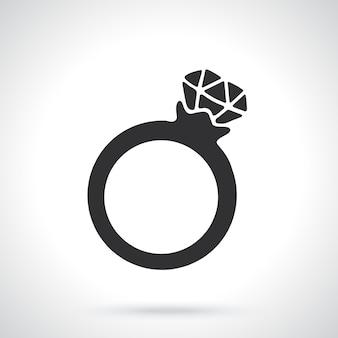 Sylwetka pierścionka z diamentem szablon lub wzór ilustracja wektorowa
