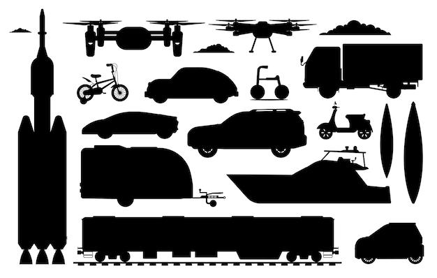Sylwetka pojazdu transportowego. różna kolekcja transportu. na białym tle samochód silnik, dron, ciężarówka, rower, pociąg, statek kosmiczny, samochód sportowy, kajak, płaskie ikony pojazdu suv. transport drogowy