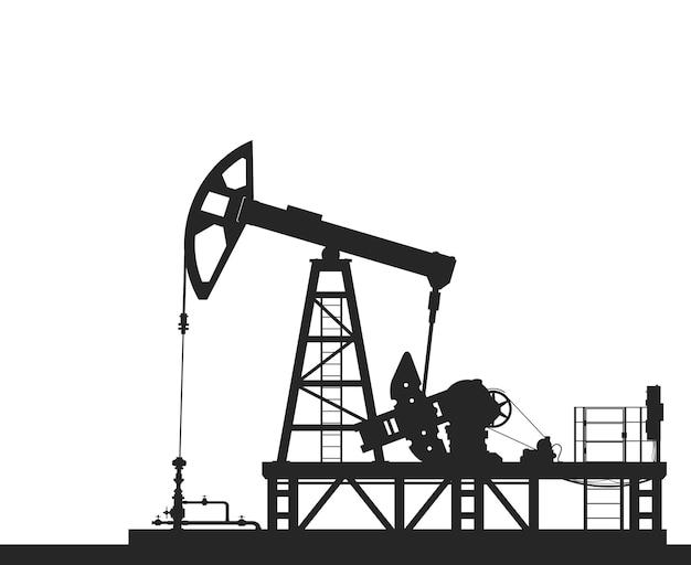 Sylwetka pompy oleju na białym tle. szczegółowa ilustracja wektorowa.
