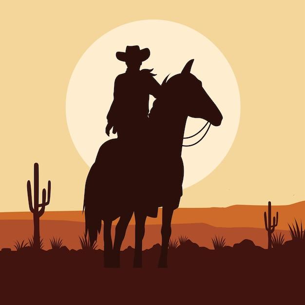 Sylwetka postać kowboja w scenie krajobrazu pustyni konia