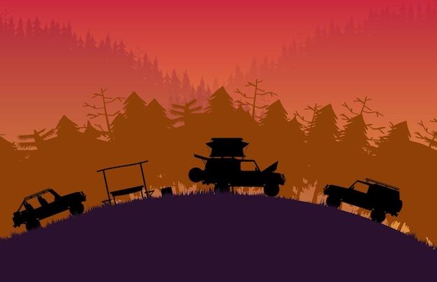 Sylwetka poza pojazdem drogowym z leśnym krajobrazem górskim na pomarańczowym tle gradientowym