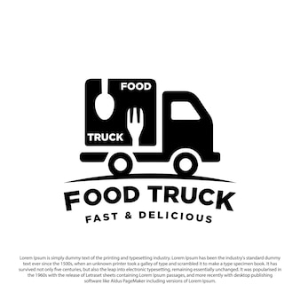 Sylwetka projekt logo ciężarówki z ciężarówką z łyżką i widelcem do ilustracji wektorowych