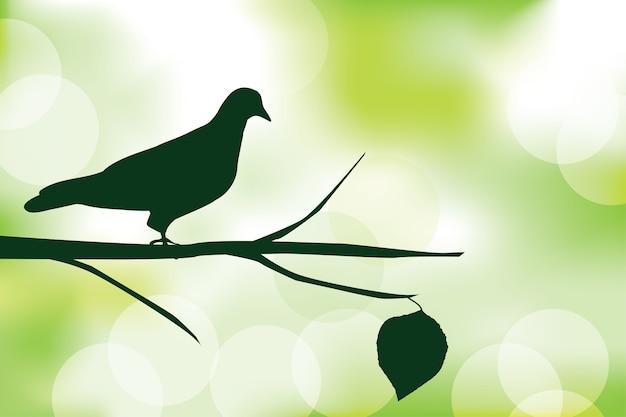 Sylwetka ptak i gałąź kij liść