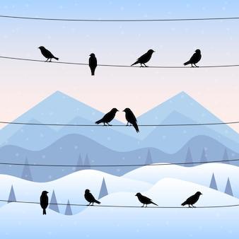 Sylwetka ptaków na drutach w tle zimy. ilustracji wektorowych.