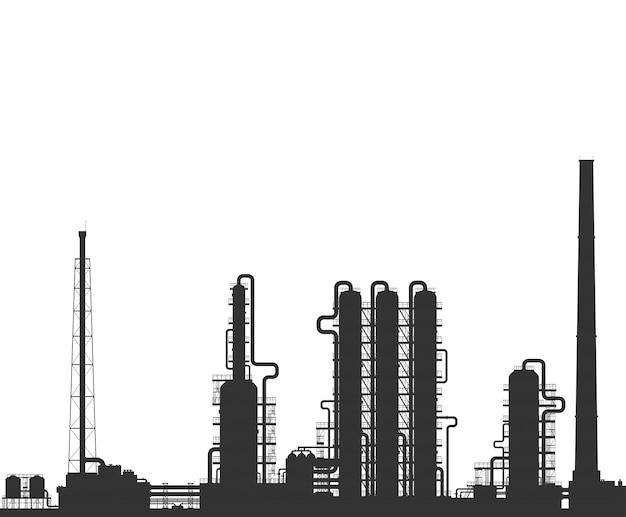 Sylwetka rafinerii ropy naftowej lub zakładów chemicznych.