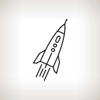Sylwetka rakiety na jasnym tle, czarno-biała ilustracja wektorowa