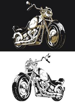 Sylwetka retro motocykl chopper na białym tle