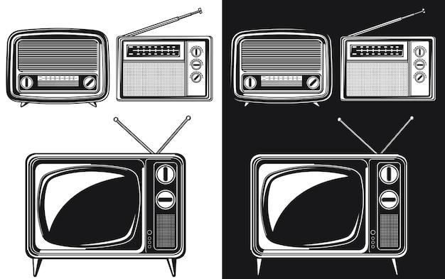 Sylwetka retro radio antyczna telewizja tube